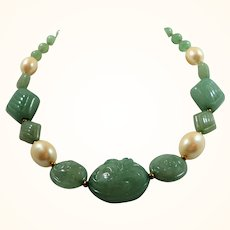 Textured Green Imitation Pearl Geometric Shaped Beaded Necklace