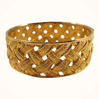 Vintage Wide Shiny Textured Woven Design Goldtone Bangle Bracelet