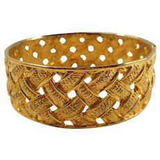 Vintage Wide Shiny Textured Woven Design Goldtone Bangle Bracelet