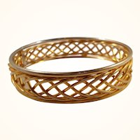 Vintage Shiny Braided Design Goldtone Metal Bangle Bracelet