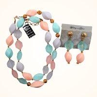 Whiting & Davis Pastel Acrylic Beaded Necklace Dangle Pierced Earring Set