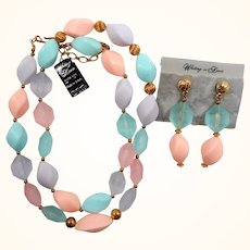 Whiting & Davis Pastel Acrylic Beaded Necklace Dangle Pierced Earring Set