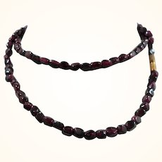 Geometric Shaped Genuine Garnets Single Strand Beaded Necklace