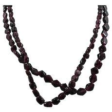 Genuine Garnet Geometric Shaped Stone Beaded Choker Length Pair of Necklaces