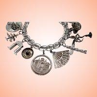 Large Sterling Silver Loaded Canadian Souvenir Travel Charm Bracelet