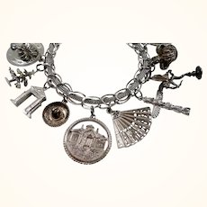 Large Sterling Silver Loaded Canadian Souvenir Travel Charm Bracelet