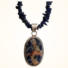 Vintage Sterling Silver Genuine Lapis Lazuli Nuggets Polished Pendant Necklace