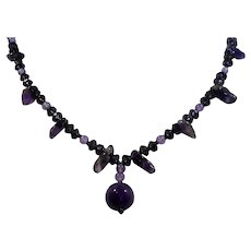 Dainty Purple Crystals Genuine Amethyst Nuggets Beaded Necklace