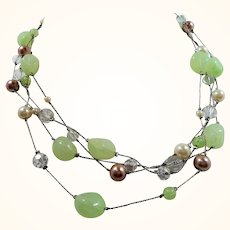 Long Single Strand Silvertone Green Lucite Imitation Pearl Beaded Neckalce