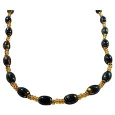 Oval Green Swirled Art Glass Beads Vivid Yellow Accents Beaded Necklace