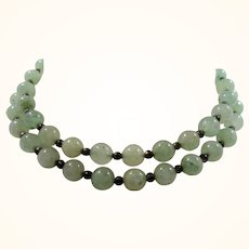 Round Green Glass Beaded Necklace Selling As Found
