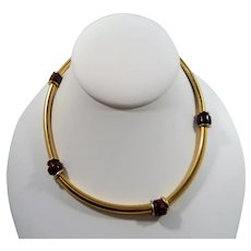 Funky Retro Goldtone Metal Tubular Beaded Necklace Red Glass Beaded Accents