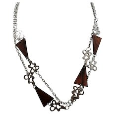 Retro Triangular Shaped Wooden Beads Silvertone Metal Chain Necklace