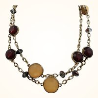 Chunky Wine & Custard Cabochon Stones Goldtone Metal Chain Necklace