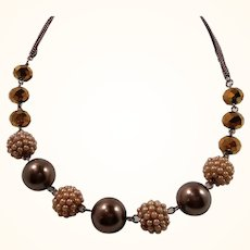 Coppertone  Faceted Glass Imitation Pearls Beaded Necklace Signed RMN