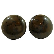 Round Domed Spinach Green Bakelite Screw On Earrings