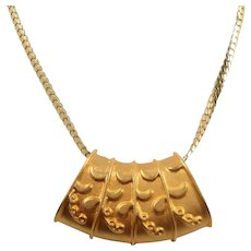 Bold Dimensional Abstract Design Goldtone Slider Pendant Chain Necklace