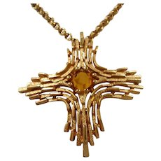 Sarah Coventry Omega Cross Yellow Glass Pendant Necklace