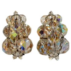 Multi-Faceted  Aurora Clear Beaded Goldtone Clip On Earrings