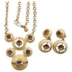 Monet Creme Enameled Dangle Rhinestones Necklace Clip On Earring Set