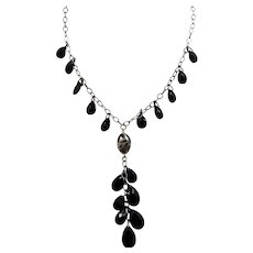 Carolee Sterling Silver Black Faceted Drops Dangle Necklace