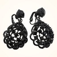 Black Scalloped Lacy Japanned Metal Black Glass Stones Dangle Clip On Earrings