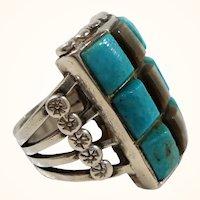 Native American Rectangular Checkerboard Pattern Sterling Genuine Stones Ring