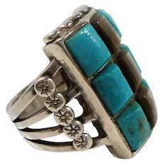 Native American Rectangular Checkerboard Pattern Sterling Genuine Stones Ring