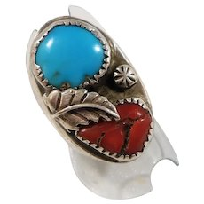Dimensional Chunky Navajo Genuine Turquoise Coral Stone Sterling Silver Ring
