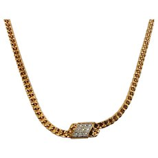 Dainty Anson Textured Goldtone Metal Necklace Rhinestone Accents