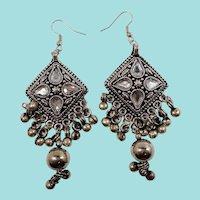 Gypsy Boho Chic  Geometric Triangular Dangle Silvertone Metal Pierced Earrings