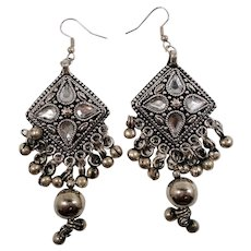 Gypsy Boho Chic  Geometric Triangular Dangle Silvertone Metal Pierced Earrings