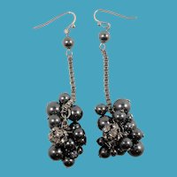 Charcoal Imitation Pearls Rhinestones Dangle Baubles Pierced Earrings
