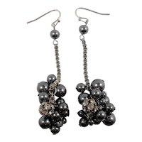 Charcoal Imitation Pearls Rhinestones Dangle Baubles Pierced Earrings