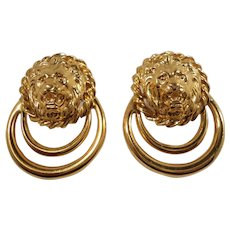 Swivel Lions Head Door Knocker Goldtone Metal Pierced Earrings