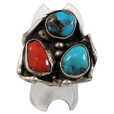Native American Sterling Abstract Ring Genuine Turquoise Coral Stones