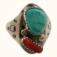 Native American Navajo Sterling Genuine Turquoise Coral Stones Ring