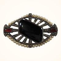 Art Deco Genuine Marcasites Carnelian Onyx Stone Brooch