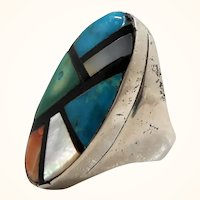 Native American Sterling Silver Ring Geometric Designs Inlaid Stones