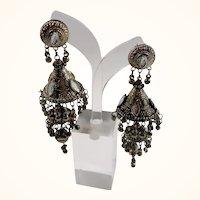 Dimensional Gypsy Boho Chic Silvertone Dangle Chandelier Pierced Earrings
