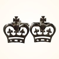 Royal Silvertone Metal Cufflinks  Crown With Crosses