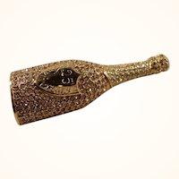 Carolee  25th Anniversary Goldtone Metal Rhinestones Champagne Bottle Brooch