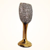 Goldtone Metal Clear Pave Rhinestone Champagne Glass Brooch