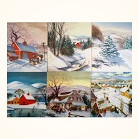 Country Farmhouse Christmas Greeting Cards  Unused Lot of 20  No Envelopes