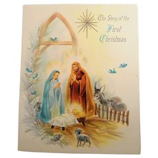 Vintage The Story of Christmas Nativity Scene Embossed Illustrated Card Booklet