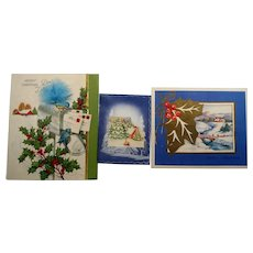 Vintage Christmas Cards Lot of Three
