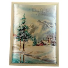 Fabric Holiday Greeting Card Thinking of You at Christmas