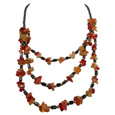 Three Layered Tiered Necklace of Genuine Hematite and Polished Red & Orange Genuine Stones