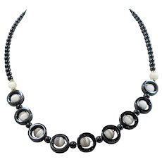 Round Genuine Hematite  Round Polished White  Beaded Necklace
