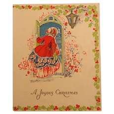 A Joyous Christmas Die Cut Card Made in Saxony